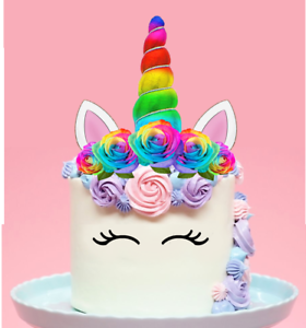 Image Is Loading XL Unicorn Rainbow Horn Amp Flowers Edible Wafer