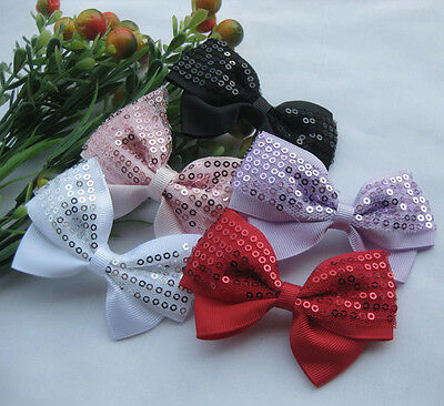 Chenkou Craft 20PCS Mesh Ribbon Flowers Bows W//Beads Rhinstone Appliques Craft Lots Bulk