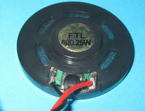 "40mm x 6mm FTL Round Speaker  8ohm 1.55/"" x .23/"" SMALL THIN .25 WATT z .25W"