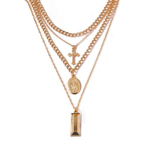 4 Couche plaqué or Croix Cristal Vierge Marie Pendentif Collier Tour de Cou Bijoux 1Pc