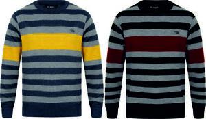 Mens-Wool-Look-Jumper-Crew-Neck-Fashion-Yellow-Wine-Size-S-XXL-New-Striped-DRock