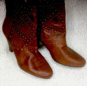 NINE-WEST-VINTAGE-Woman-s-Size-11-Brown-LEATHER-Zip-Studded-ANKLE-Heel-BOOTS