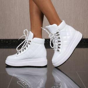 Details zu Glänzende Damen Keilabsatz High Sneaker gesteppt Weiß #CB 122
