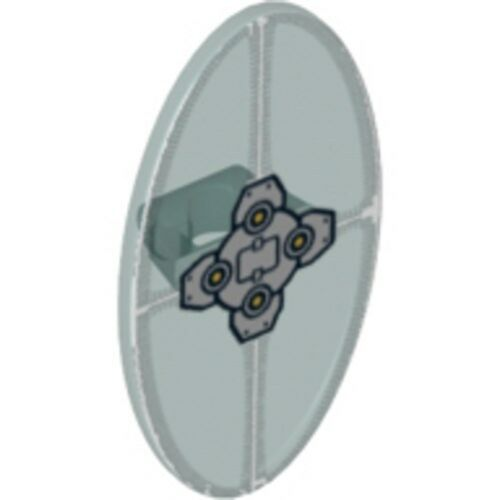 LEGO Shield Oval with Silver Mechanical Pattern Trans-Light Blue Minifig
