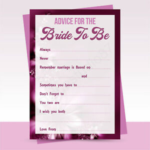 Details About X10 Advice For The Bride To Be Cards Hen Party Bridal Shower Game Activity
