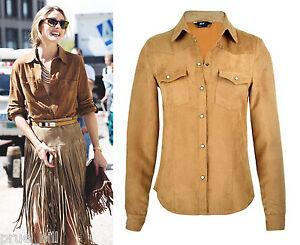 Suede-Tan-Slim-Fit-Classic-Cowboy-Denim-Shirt-Blouse-Top-Long-Sleeve-Pocket