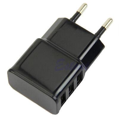 3 Port EU Plug USB Wall Travel AC Charger Adapter Fr iPhone Samsung Galaxy S5