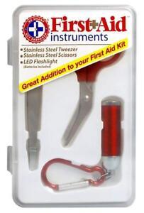 First Aid Instruments Kit with Tweezer, Scissors & Flashlight Smart & Prepared