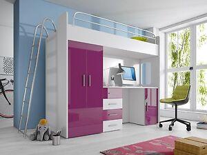 Etagenbett Mit Schrank Und Schreibtisch : Etagenbett hochbett hochglanz weiss violett kinderbett schrank