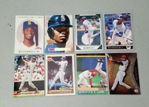Lot of (8) Ken Griffey JR Baseball Cards 91-01' Seattle Mariners Reds Topps Leaf