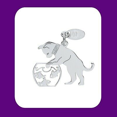 "Attent Silver Cat Pendant Goldfish Bowl 925 Hallmark Pet Jewellery 14-30"" Chain Bekwame Vervaardiging"