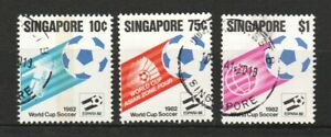 SINGAPORE 1982 WORLD CUP SOCCER COMP. SET OF 3 STAMPS SC#394-396 IN FINE USED