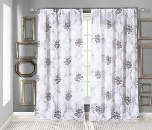 White Textured Sheer Window Curtain Panel Black Medallion