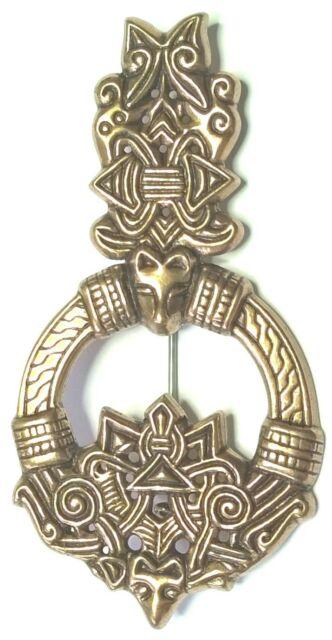 "KALEVALA KORU KK Finland - Beautiful Vintage Bronze Brooch ""Wolf's Head"" - BIG"