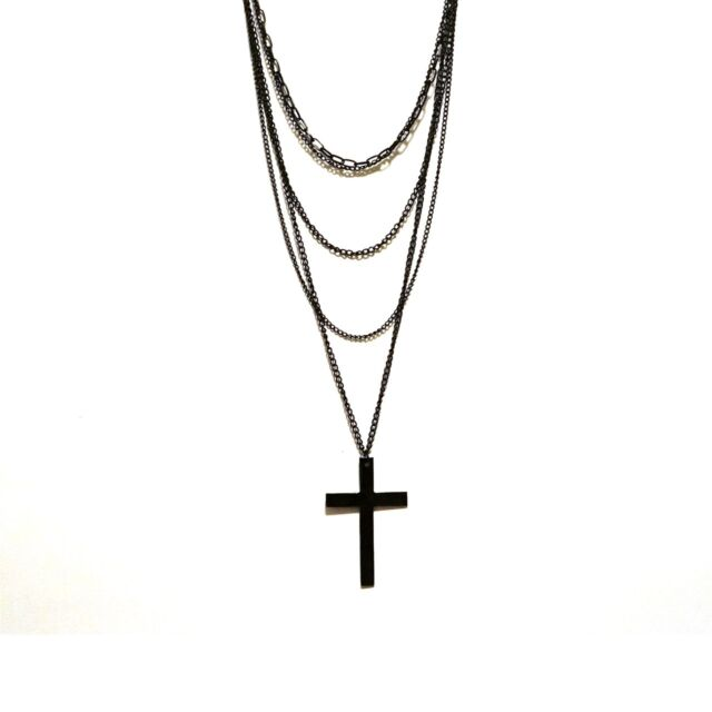 Multi Layer Cross Necklace - Long Five Chain Statement Necklace - Punk - Goth