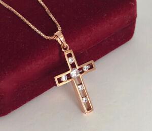 Halskette-Kreuz-Anhaenger-Collier-mit-Swarovski-Kristallen-Rosegold-18K-vergoldet