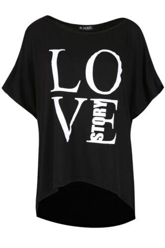 Ladies Oversize LOVE STORY Printed Womens Baggy Batwing Sleeve Hi Lo T Shirt Top