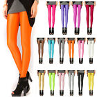 Women Neon Candy Shiny Bright Fluorescent Glow Stretch Skinny Leggings Pants