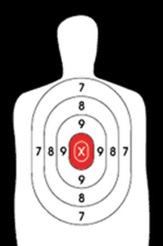 B-27E [B27E] Silhouette Target Reversed Red Center [22.5  x 34.5 ] (50 targets)