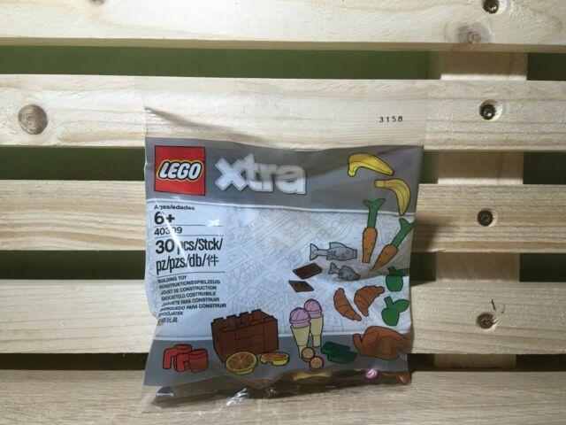 Lego Xtra 40309 Lebensmittel 30 tlg. Fisch Pizza Eis Geld Banane Speisenzubehör