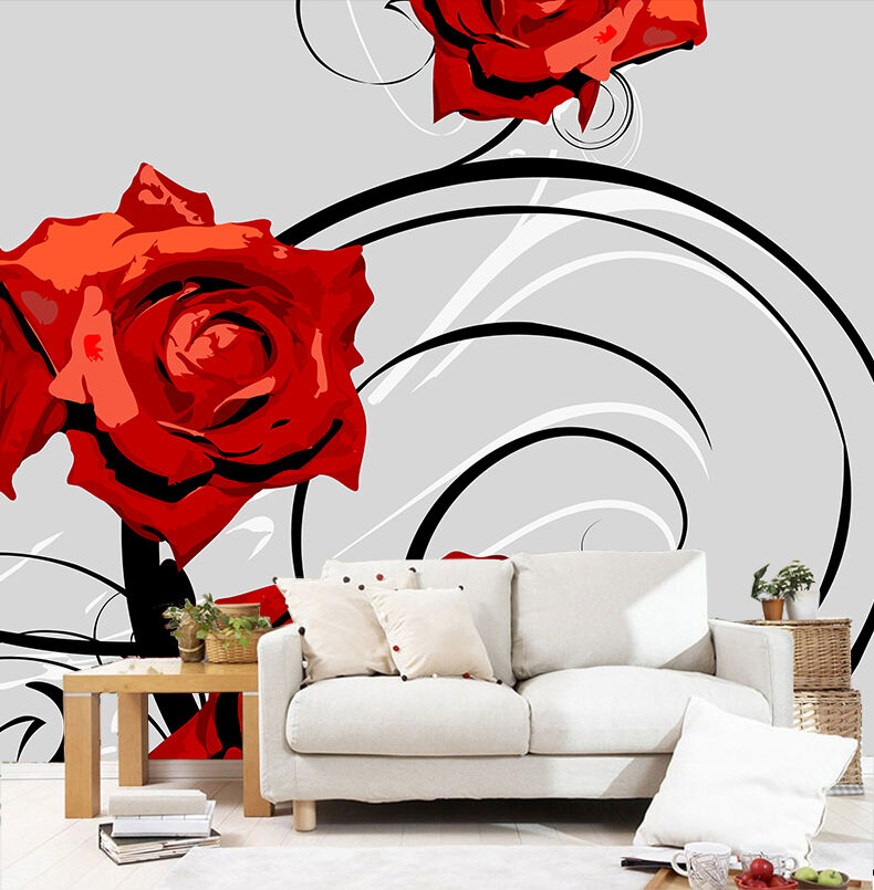 3D Modern Brightly Red Flowers 28 Wall Paper Wall Print Decal Wall AJ Wall Paper