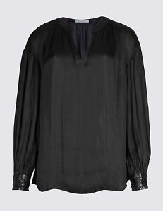 6df5fd78919e1a MARKS AND SPENCER SATIN NOTCH NECK SEQUIN CUFF BLOUSE BLACK COLOUR ...