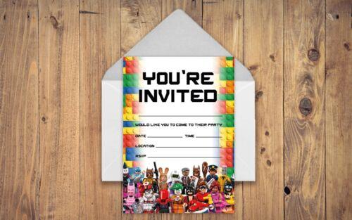 LEGO THEME BIRTHDAY PARTY INVITATIONS LEGO INVITES CHILDREN BOYS GIRLS KIDS