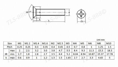 Laiton massif Phillips Flat Tête fraisée Machine Vis M2 M2.5 M3 M4 M5 M6