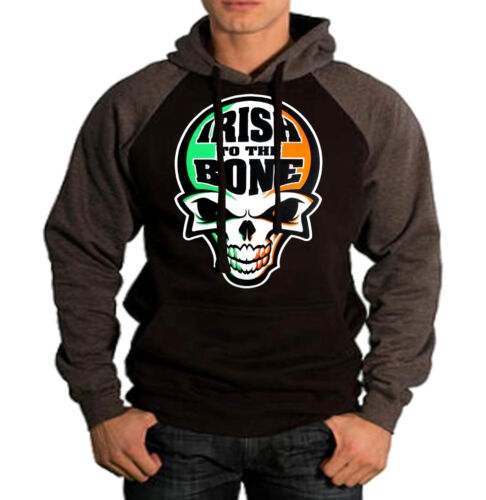 Men/'s Irish To The Bone Skull Raglan Charcoal Gray Black Hoodie Ireland Sweater