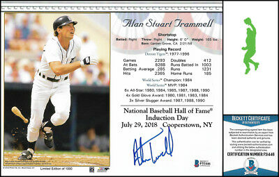 Alan Trammell Autographed Signed 8x10 Photo Picture Baseball Tigers Beckett Coa Photos Autographs-original