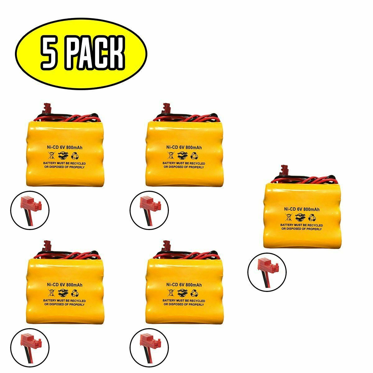 (5 pack) 6v 800mAh Ni-CD Battery Pack Replacement for Emergency / Exit Light