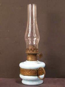 19c Victorian Brass & Blue Opaque Sandwich Glass Finger Oil Kerosene Lamp Light~