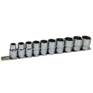 """BERGEN 10pc 1//2/"""" Drive Imperial SAE AF Shallow Sockets 7//16/"""" to 1/"""" 6 Sided 1288"""
