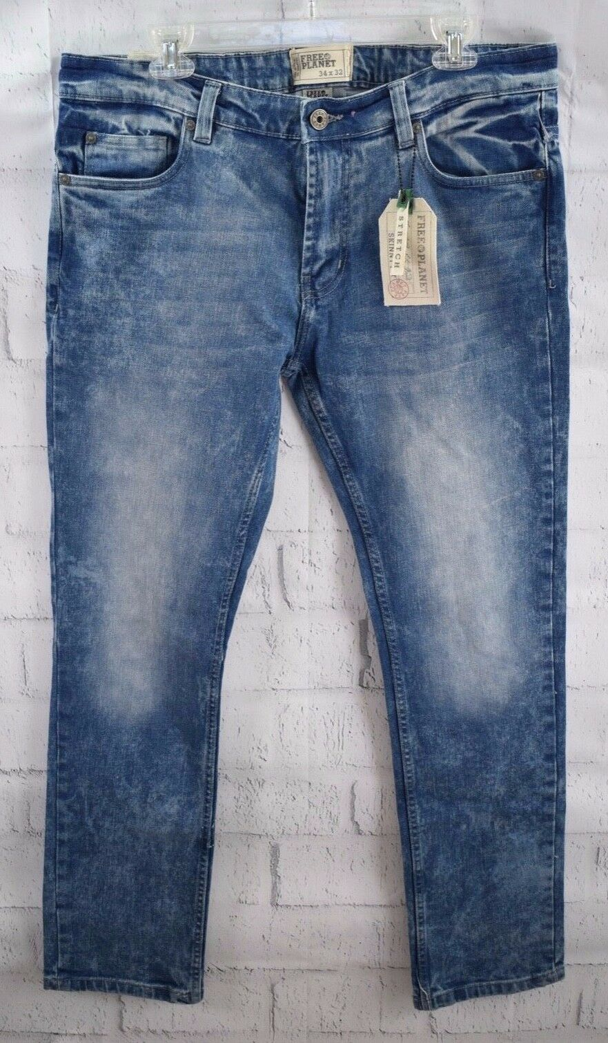 New Free Planet Mens Skinny Fit Jeans Stretch Med Wash Faded Clark Sz 34 32