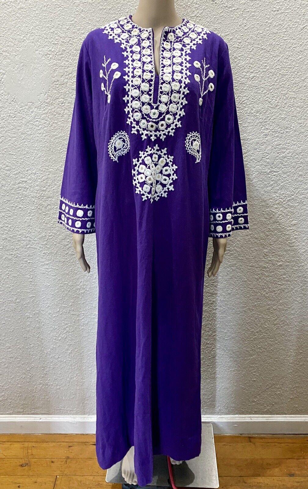 Ramona Rull Purple Cotton MIRROR Embroidery 60s B… - image 11