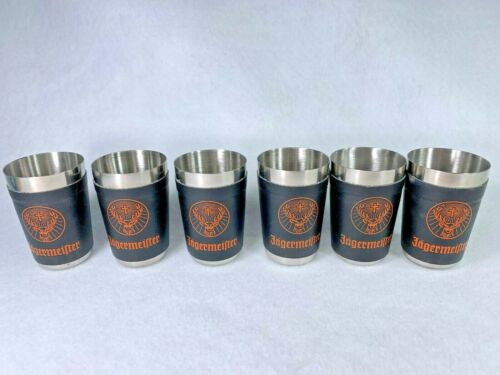6 Jagermeister Black and Orange Leather Wrapped Stainless Steel Shot Glasses