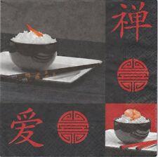 2 Serviettes en papier Asie Baguettes Signes - Paper Napkins For chopsticks Asia