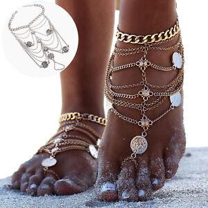 Femmes-Multicouches-Chaine-Bohemien-Tassel-Chaine-Bracelet-Barefoot-Pied-Bijoux
