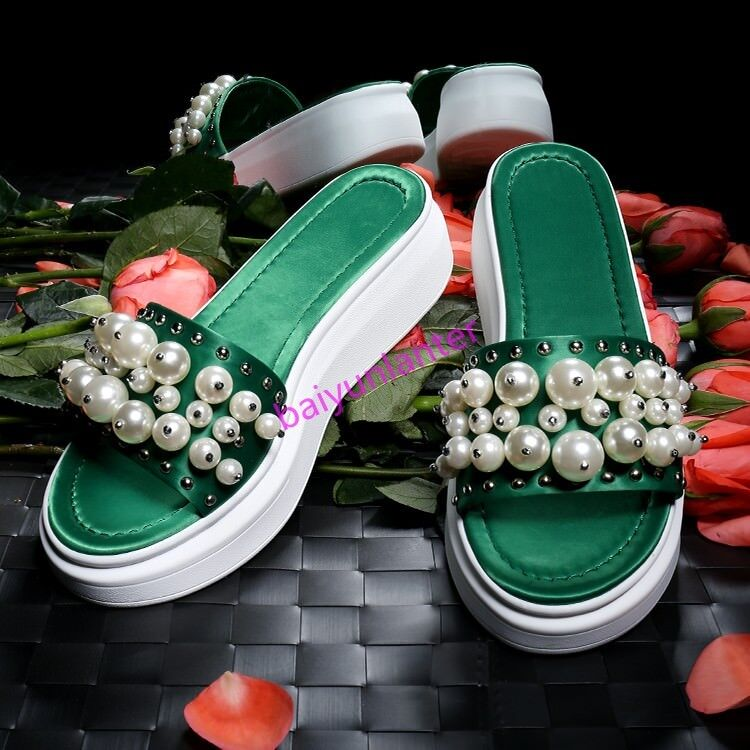 Decoración para Mujer Punta Abierta Perla Resbalón zapatos en Zapatillas Slingback zapatos Resbalón  de plataforma Mulas Nuevo 8682c0