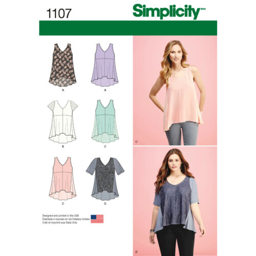PLUS SIZES SIMPLICITY SEWING PATTERN 1107 MISSES SZ 4-26 HIGH-LOW V-NECK TOPS