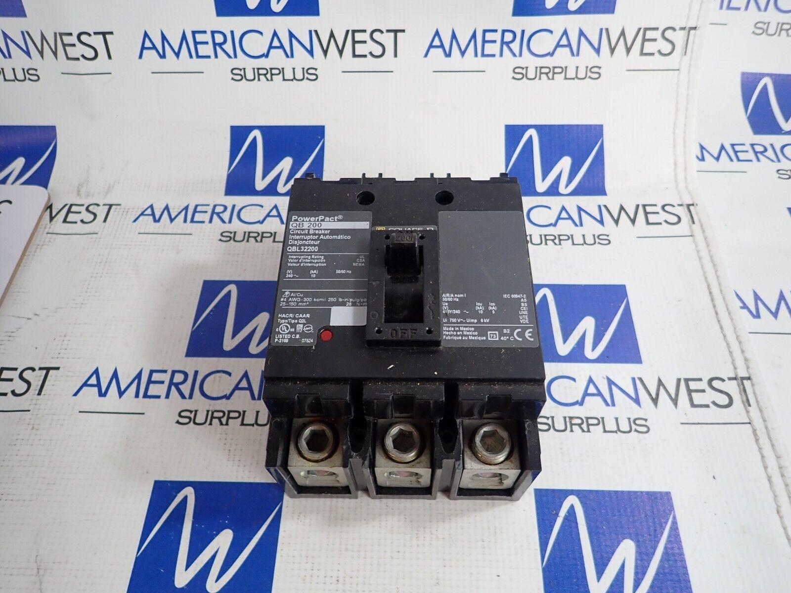 QBL32200 SQUARE SQUARE SQUARE D 3 Polo 200 Amp 240 voltios de alimentación a través de powerpact interruptor de circuito 057d3b