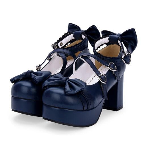 Gothic Goth Lolita Barock Damen Schuhe Shoes Cosplay Kostüme pumps Dunkel Blau