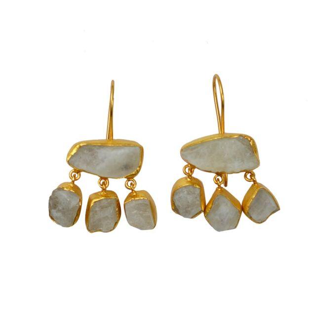 Rainbow Moonstone Rough Gemstone Yellow Gold Plated Handmade Design Earrings