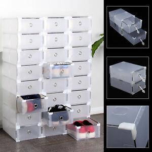24x-Foldable-Clear-Plastic-Shoe-Box-Drawer-Stackable-Home-Storage-Box-Organiser