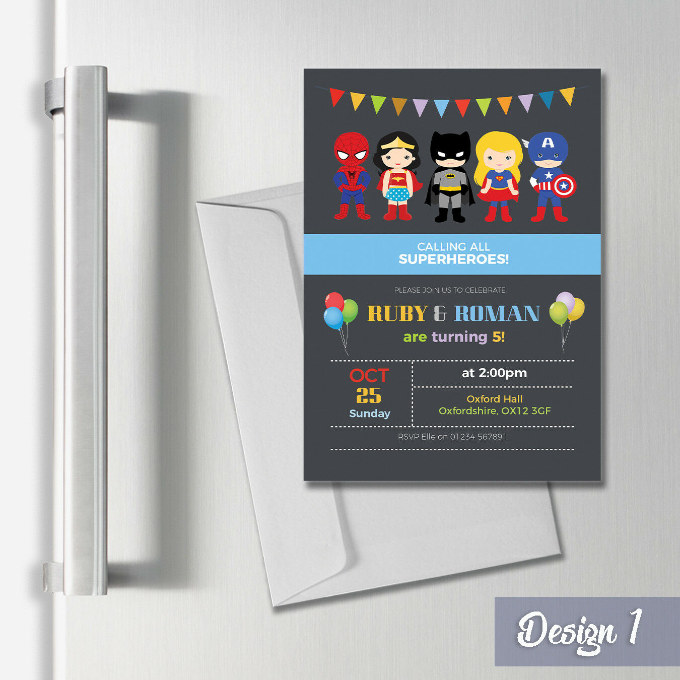 Personalised Magnetic Superhero Party Invites & Thank You Cards A7 Magnet