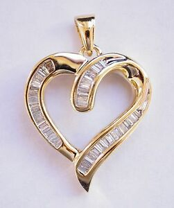 14k yellow gold baguette diamond heart pendant ebay image is loading 14k yellow gold baguette diamond heart pendant aloadofball Images