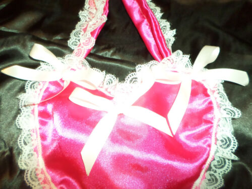 ADULT BABY SISSY BAG  heart shape DEEP PINK SATIN  WHITE LACE TRIM   SATIN BOWS
