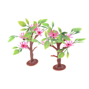 2pcs-9cm-Flowering-trees-Railway-Park-HO-SCALE-Layout-Scenery-Decor-WA