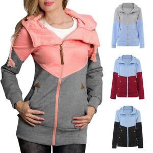 Women-Casual-Sweatshirt-Zipper-Hooded-Loose-Color-Matching-Pockets-Coat-Outwear