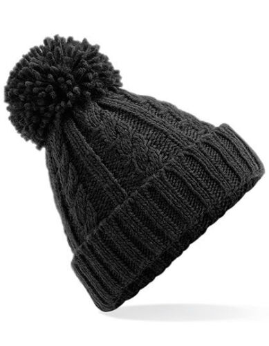 Beechfield Cable Knit Pompom Hat Pompom Winter Hat Winter Beanie Thick Ladies